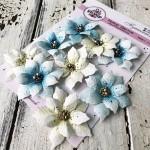 """Набор цветов из коллекции """"Пуансеттия"""", цвет: Кремовые и Голубые с тычинками, 9 шт., размер от 5-7см, Ручная работа. GA000005"""