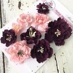 """Набор цветов из коллекции """"Магнолия"""", цвет: розовые и сливовые с тычинками, 9 шт., размер от 2 см и 6 см, Ручная работа. GA000006"""