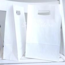 Белый пакет с вырубной ручкой, размер 30x18х8,5, плотность 80 гр, цена за 1 шт., HR000080