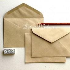 Крафт конверт С6 размер 114х162 мм, декстрин, клапан треугольный, цена за 40 штук, HR000082