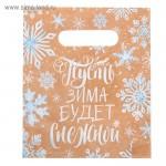 Пакет подарочный полиэтиленовый Снежная Зима, размер 17х20см, HR000091