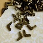 Металлический Уголок для альбома с узором 234, Античное золото, глубина 3 мм., 15х15 мм., цена за 1 шт.