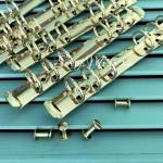 Металлический Кольцевой механизм А6, цвет:светлое золото, на 6 колец, диаметр колец 20 мм. IN000472