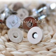 Магнитная застёжка-кнопка, цвет серебро, диаметр 14 мм. IN000477