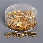 Зажим для ленты 10 мм, золото, размер 10х8 мм, цена за 1 шт., IN000482