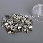 Зажим для ленты 6 мм, серебро, размер 6х8 мм, цена за 1 шт., IN000484