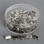 Зажим для ленты 10 мм, серебро, размер 10х8 мм, цена за 1 шт., IN000485