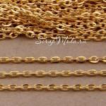 Цепочка со звеньями, золото, размер 2х3 мм, цена за 50 см., IN000505