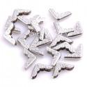Металлический Уголок для альбома с узором, серебро, 16х16 мм., глубина 4 мм.,  цена за 1 шт.,  IN000507