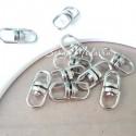 Основа-карабин для брелока, соединительный элемент,  серебро,  размер 18х7 мм., IN000520