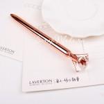 Ручка шариковая с Кристаллом, стержень чёрный, длина ручки 14 см., розовое золото. IN000524