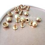 Хольнитены металлические 4шт., золото, Диаметр шляпки 9х9 мм, ( 8 деталей) IN000530