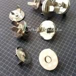 Магнитная Плоская застёжка-кнопка, цвет серебро, диаметр 18 мм., IN000570