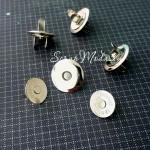 Магнитная тонкая застёжка-кнопка, цвет серебро, диаметр 14 мм., с косым срезом. DA000630