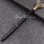 Ручка шариковая с Кристаллом, стержень чёрный, длина ручки 14 см., чёрная с золотом. IN000598