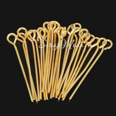 Пин золотой 3 см, бижутерный гвоздик с петлей, диаметр 0,7 мм. IN000611