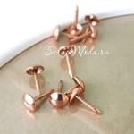Кнопки розовое золото, металлические, размер шляпки  7мм, длина 12 мм, цена за 10 шт., IN0000617