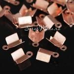 Зажим наконечник для резинки или шнура, цвет розовое золото, длина 10 мм, внутри 4 мм, IN000628