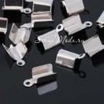 Зажим наконечник для резинки или шнура, цвет серебро, длина 10 мм, внутри 4 мм, IN000629