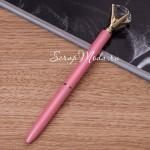 Ручка шариковая с Кристаллом Розовая, стержень чёрный, длина ручки 14 см., IN000641