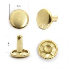 Хольнитены плоские металлические для установки кольцевого механизма, 4шт., цвет:золото, диаметр шляпки 9х9 мм, ( 8 деталей) IN000657