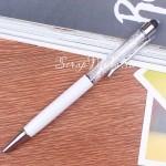 Ручка с кристалликами, Белая, стержень черный 0,5мм., 15 см., IN000665