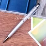 Ручка с кристалликами, Серебро, стержень черный 0,5мм., 15 см., IN000666