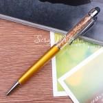 Ручка с кристалликами, желтое Золото, стержень черный 0,5мм., 15 см., IN000667