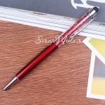Ручка с кристалликами, тёмно-Красная, стержень черный 0,5мм., 15 см., IN000669