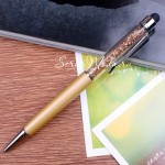 Ручка с кристалликами,Золотой песок, стержень черный 0,5мм., 15 см., IN000670