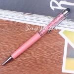 Ручка с кристалликами, Розовая, стержень черный 0,5мм., 15 см., IN000671