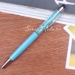 Ручка с кристалликами, Бирюзовая, стержень черный 0,5мм., 15 см., IN000673