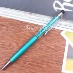 Ручка с кристалликами, Изумрудная, стержень черный 0,5мм., 15 см., IN000674