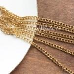Цепочка со звеньями, Золото, размер 6,5х3,5мм, толщина 1 мм, цена за 50 см., IN000695
