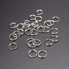 Металлическое колечко разъемное, Серебро, размер 9 мм, толщина 1 мм, цена за 1 шт., IN000701