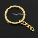 Брелок металлический, золотой, диаметр кольца 25 мм., длина 50 мм, IN000742