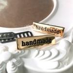 """Лейбл """"hand made"""", цвет:золото, размер пластинки 34х10 мм, толщина 1 мм. IN000777"""