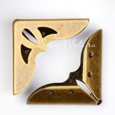 Металлический Уголок для альбома с вырезанным декором, античная бронза, размер внешних сторон уголка 31х31х7мм., цена за 1 шт., IN000792