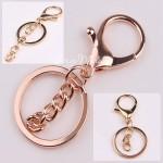 Крепление для брелков с карабином и цепочкой, цвет: розовое золото, диаметр кольца 30 мм., карабин 25х35 мм, цепочка 7х30 мм. цена за 1 шт, IN000805