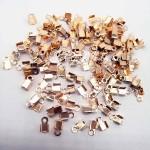 Зажим наконечник-заглушка для резинки или шнура, цвет Розовое золото, размер 2x6 мм, IN000808