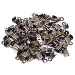 Зажим наконечник-заглушка для резинки или шнура, цвет античная бронза, размер 2x6 мм, IN000810