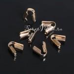 Зажим наконечник-заглушка для резинки или шнура, цвет золото,  размер 3,5 мм, цена за 1 шт. IN000813