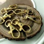 Карабин металлический, цвет:золото, 9х38 мм, цена за 1 шт., IN000843