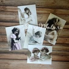 Карточки Винтаж, односторонние, текстура холст, размер от  65 до 95 мм., 5 шт. KA000001