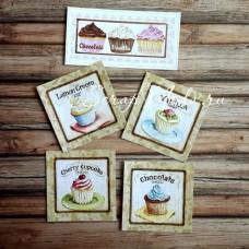 Карточки Кексы 2, односторонние, текстура холст, размер 55-110 и 70-70 мм., 5 шт. KA000004