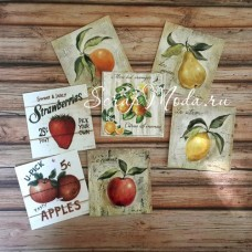 Карточки Фрукты, односторонние, текстура холст, размер 60х60 мм., 7 шт. KA000006