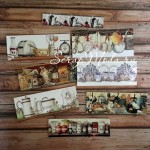 Карточки Бордюр Кухня, односторонние, текстура холст, размер: длина 100 мм, высота от 20 до 45 мм., 8 шт., KA000007