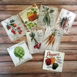 Карточки Овощи, односторонние, текстура холст, размер  60х60 мм, и 66х75 мм., 8 шт. KA000008