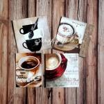 Карточки Кофе, односторонние, текстура холст,  размер 60х60 мм., 4 шт. KA000010