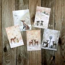 Карточки Зима, односторонние, текстура холст, размер 50х80 мм., 5 шт. KA000011